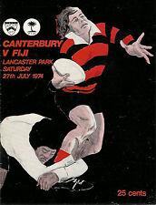 Fiji 1974 Rugby Tour Programa V Canterbury 27th Julio, Christchurch