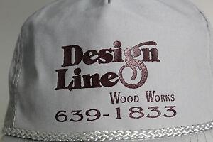 Vintage Design Line Wood Works Gray Baseball Cap Hat