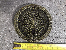 AZTEC CALENDAR BELT BUCKLE MAYAN MEXICO Bronze Finish 3D