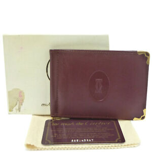 Authentic Cartier Must De Card Case Holder Money Clip Leather #W505045