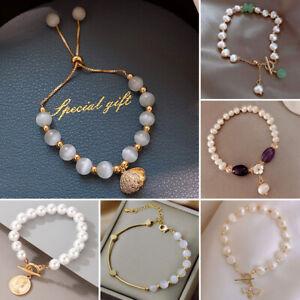 2021 Charm 18K Gold Opal Pearl Zircon Bracelet Bangle Chain Women Jewellery Gift