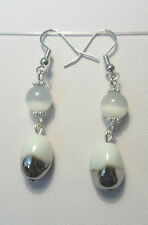 Dangle earrings - white glass catseye + glass bead