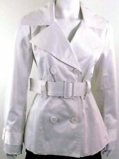 GUESS White Solid Double Breasted Belted Coat Jacket Sz M