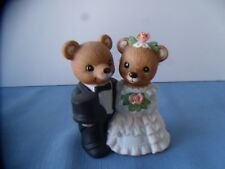 "BRIDE AND I GROOM WITH FLOWERS REALLY CUTE CAKE TOPPER OR DECOR ""4"" TALL  MICE"
