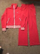 Vintage 1970's Womens Puma Orange/White Sweat Jacket And Sweat Pants, Size Small