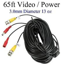 65ft Video and Power cable 3.0mm diameter thick, use for BNC Cameras