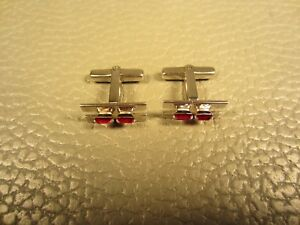Vintage Linear Prong Set Red Glass White Gold Plated Cuff Links