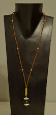 Necklace Black Horn Pendant Bone African Glass Brown Glass Beaded Necklace