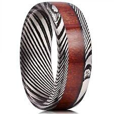 Inlay High Polished Engagement Band New* 8mm Mens Wedding Ring Ebony Wood