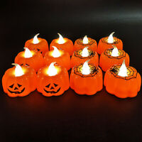 1/5Pcs Pumpkin Candle Lights Halloween Spider Web Lamps Party Home Decoration
