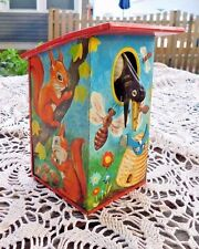 VINTAGE WEST GERMAN LBZ BIRD HOUSE MECHANICAL COIN BANK TIN LITHO