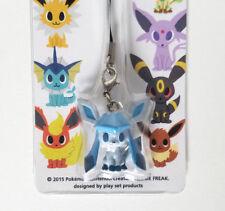 Japanese Pokemon Time Center Glaceon strap figure charm keychain plastic sitting