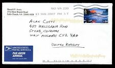Estados Unidos 2007 comercial cubierta de correo aéreo a Reino Unido #c 10608