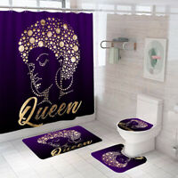 Queen Bathroom Rug Set Shower Curtain Non Slip Toilet Lid Cover Bath Mat
