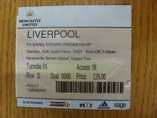 30/09/2001 Ticket: Newcastle United v Liverpool  (folded, creased). Footy Progs/