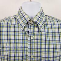 Brooks Brothers 1818 Mens Green Blue Check L/S Dress Button Shirt Sz Medium M