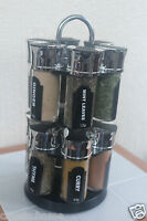 SET OF 12 COOKING SPICE RACK SPACE SAVING REVOLVING SPICE RACK WITH SPICES NEW