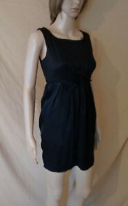 WOMENS MISS SELFRIDGE BLACK SLEEVELESS KNOTTED FRONT DRESS SIZE 6 EU 34