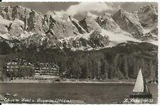 Ansichtskarte Eibsee - Eibsee mit Hotel u. Zugspitze - Segelboot - schwarz/weiß