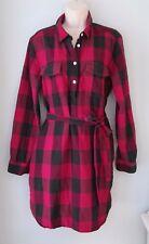 GAP Red Buffalo Plaid Check 100%Cotton Flannel Shirt Dress Women XL
