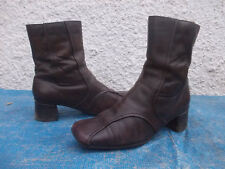 ZENSU BROWN GENUINE LEATHER LONG ANKLE BOOTS-SZ 8.5
