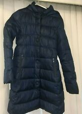 United Colors Benetton Puffer Down Feather Blue Long Coat Girls XL 10 11