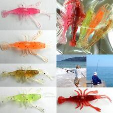Lot 5pcs Shrimp Soft Plastic Fishing Lure Yabby Prawn 8cm Minnow Baits Tackle