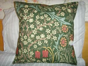 MADE in WILLIAM MORRIS 'BLACKTHORN  GREEN FABRIC CUSHION COVER FOR 16in pad