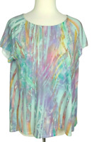Chico's Top Size 1 Short Sleeves Pleated Chiffon Back Turquoise Multi-Color M