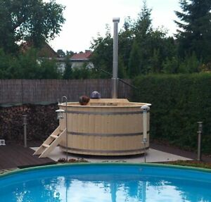 Badetonne, Badezuber DM1,6 M (BAUSATZ) aus Nordische Fichte inkl. Edelstahlofen