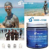 Dead Sea Mud Mask 8.8 oz Acne Blackhead Remover w/ Silicone Mask Brush Swan Star