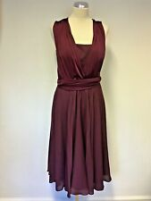 TED BAKER WINE KNEE LENGTH WRAP AROUND TIES SPECIAL OCCASION DRESS SIZE 3 UK 12