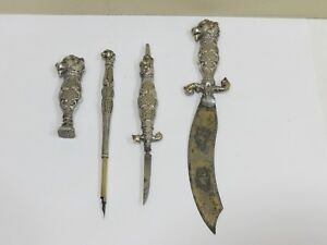 Rare Antique Lion Head Sterling Silver Handle Dip Pen, Knives & Wax Seal Set