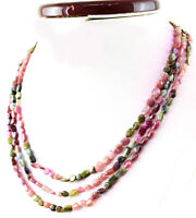 Untreated 180.00 Cts Natural 3 Strand Watermelon Tourmaline Oval Beads Necklace