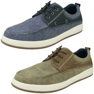 Hommes Hush Puppies Toile Chaussures Bateau Aiden