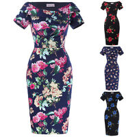 50s Vintage Style Bridesmaid Floral Lady Pencil Wiggle Evening Midi Formal Dress