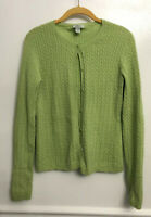 Geneva 100% Cashmere Cable Knit Cardigan Sweater Green St Patricks Large *Hole*