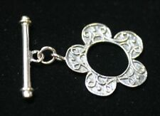 22mm Solid 925 Sterling Silver Ring Bar Toggle Clasp Flower Design Necklace