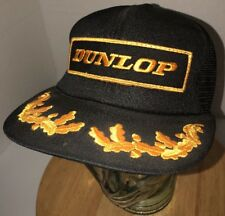 VTG DUNLOP 80s USA Swingster Black Trucker Hat Cap Snapback Yellow Gold PATCH