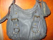 Betsey Johnson gray leather brass studd buckle diamond horseshoe shoulder bag
