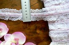 Poly Gathered WHITE Lace with 4mm MAUVE Satin Thread 5 Metres 44mm Wide FRL