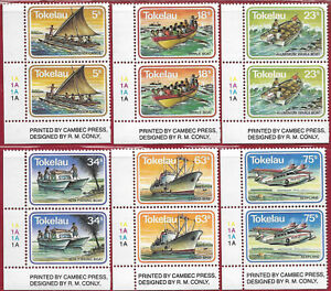 Tokelau 1983 Set [6] Sea Transport corner imprint/cylinder pairs sg 91-6 MNH