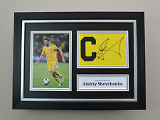 Andriy Shevchenko Signed A4 Photo Framed Captain Armband Autograph Display