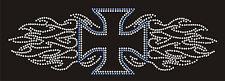 "Iron-On Rhinestone Rhinestud Design 10"" Blue Iron Cross Silver Flames Transfer"