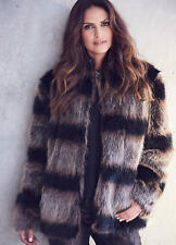 Gorgeous Long hair, High Collar Faux Fur Jacket with pockets size 12