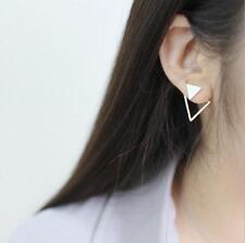 925 Sterling Silver Matt Triangle Ear Jacket Post Stud Earrings A1166