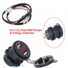 12V 3.1A Car Motorcycle Dual USB Charger Socket Red LED Light Voltage Voltmeter