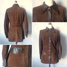 Vintage 1960s 70s Brown Suede Shirt Jacket Leather Trim Dagger Collar Size 10 12