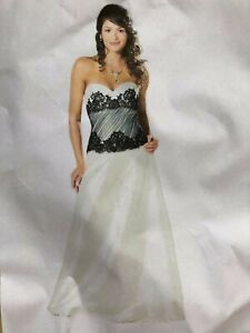 NEU...LAURA SCOTT WEDDING KLEID DRESS GR.36 WEISS SCHWARZ CORSAGE