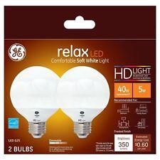 GE relax HD 5-Watt / 40-Watt Frosted White G25 Globe LED Light Bulb wMedium Base